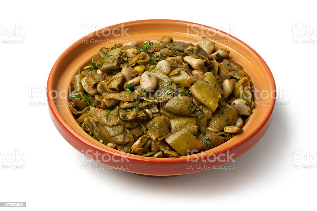 Dish with Moroccan steamed broad beans stock photo