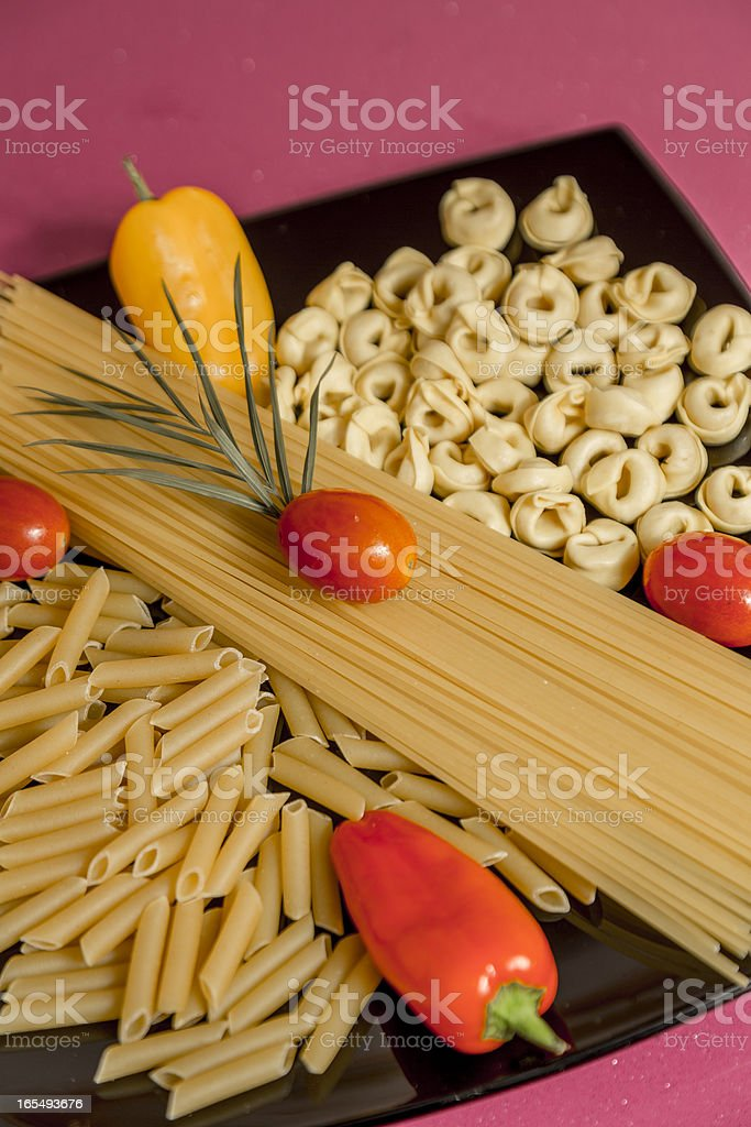 dish with paste and vegetables royalty-free stock photo