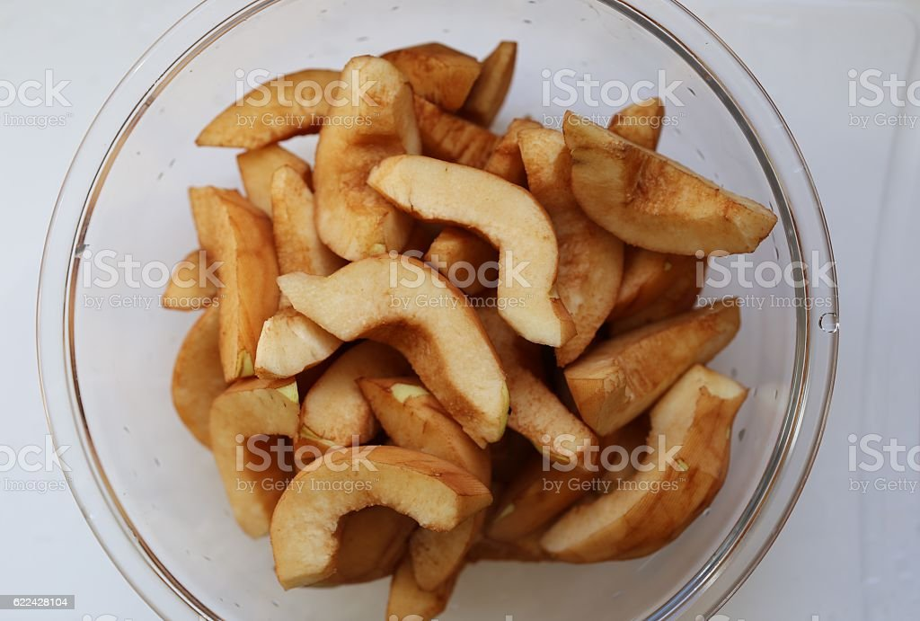 Dish With Quince Pieces stock photo