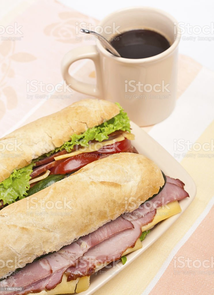 dish with sandwiches and a cup of coffee royalty-free stock photo