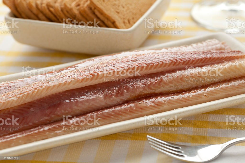 Dish with smoked eel stock photo