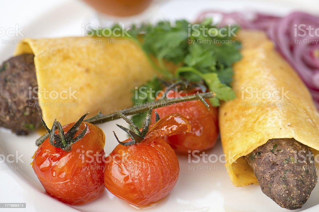 Dish with two fried cutlet royalty-free stock photo