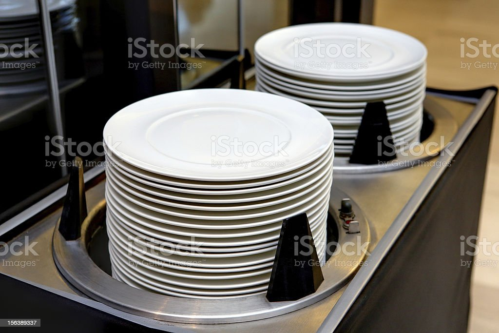 Dishes and warmer cart royalty-free stock photo