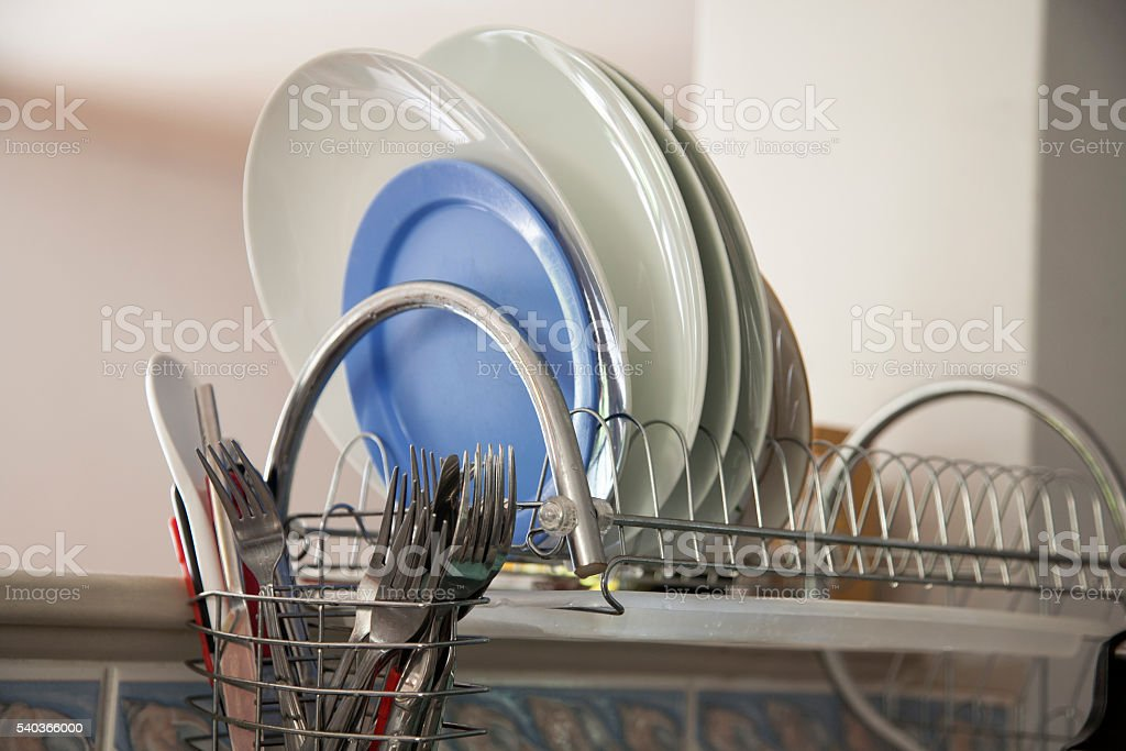 Dishes Drying Wrack stock photo
