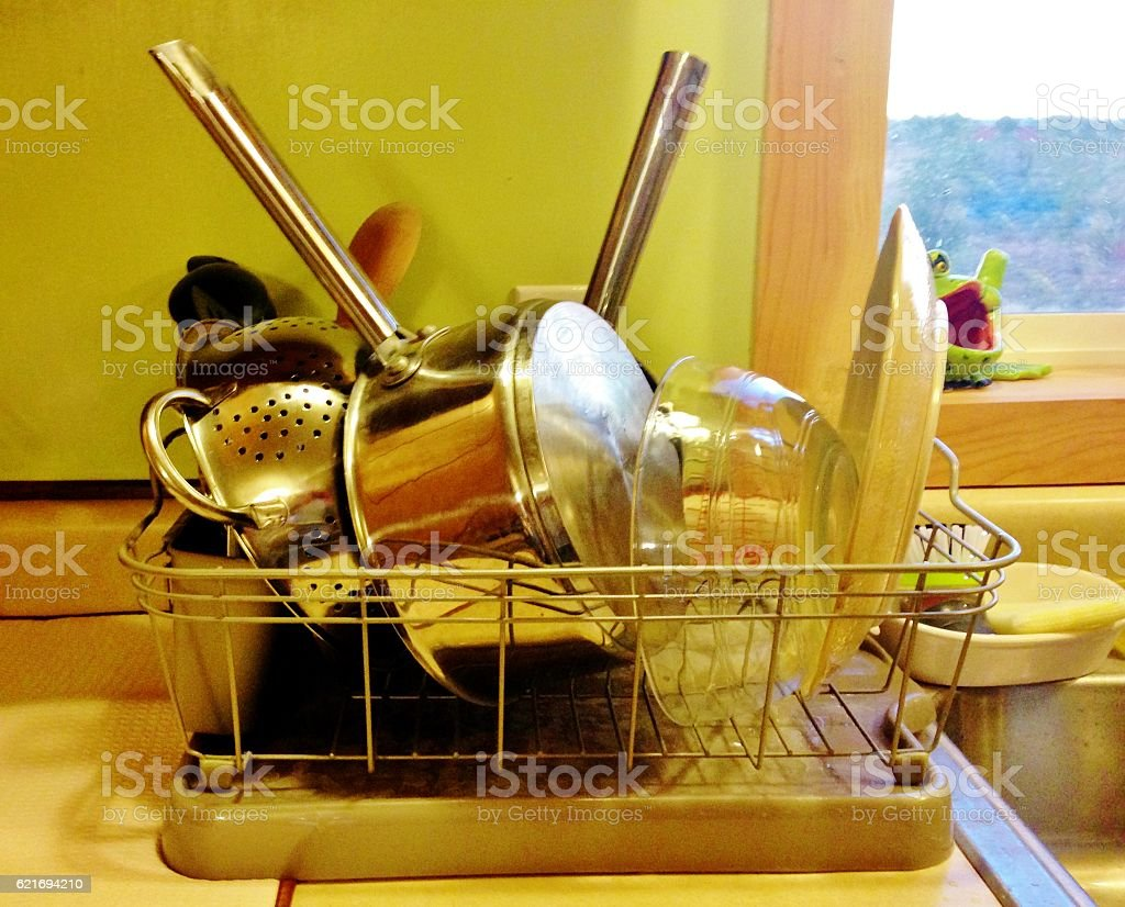 Dishes on Rack stock photo