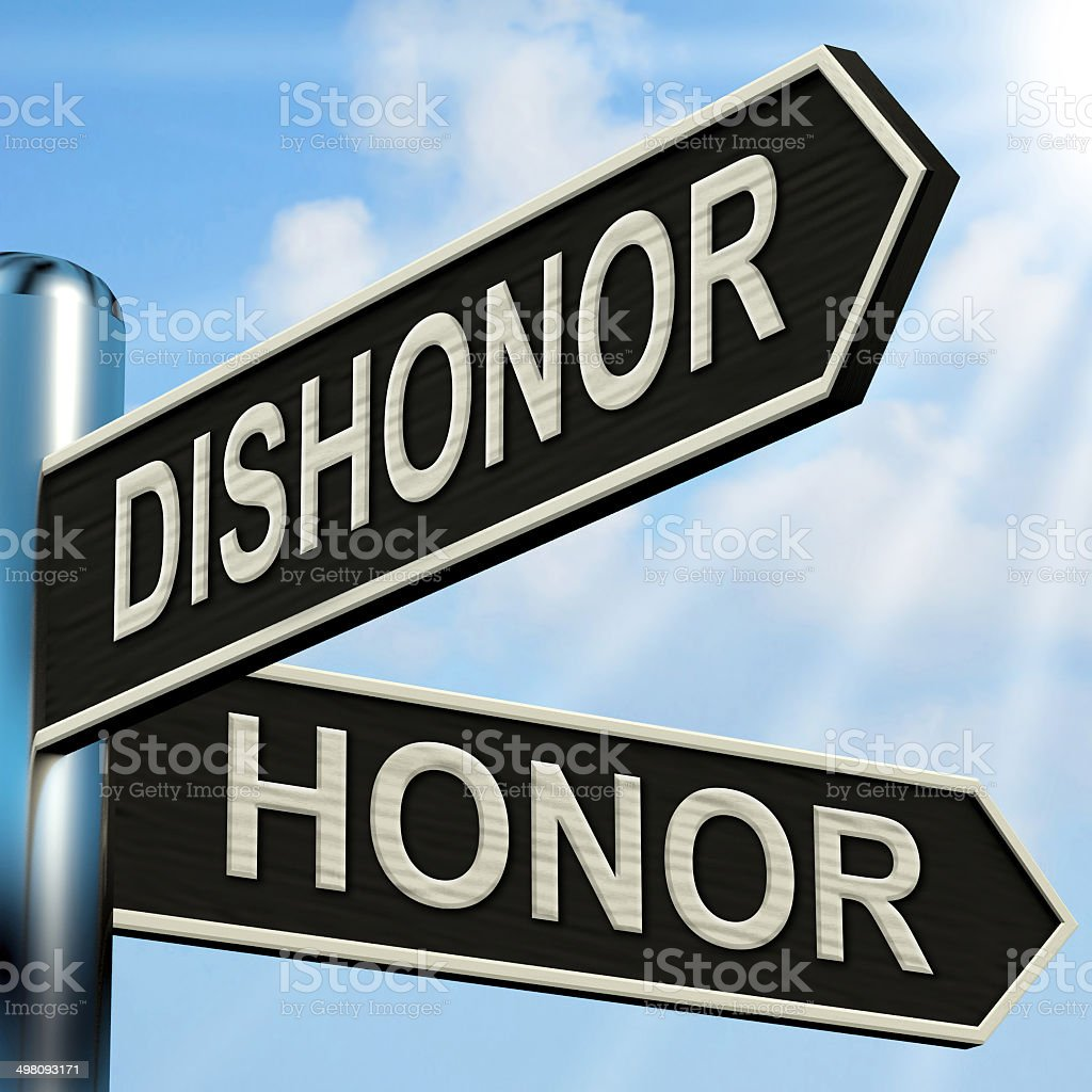 Dishonor Honor Signpost Shows Disgraced And Respected stock photo