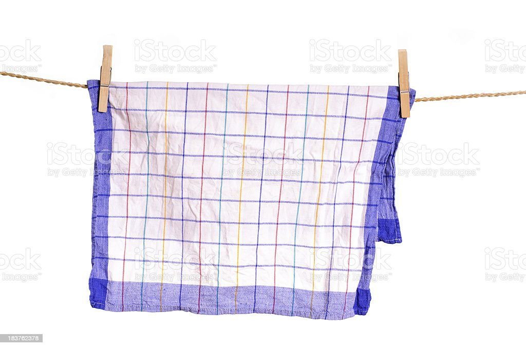 Dishtowel on clothesline stock photo