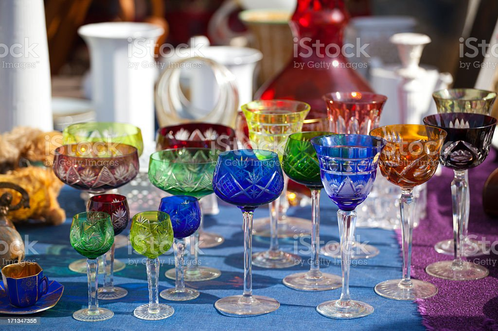 Dishware at the Mauerpark Flea Market in Berlin royalty-free stock photo