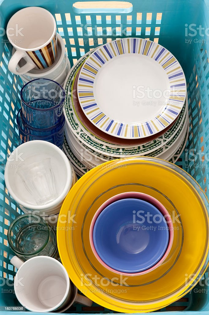 Dishware in box royalty-free stock photo
