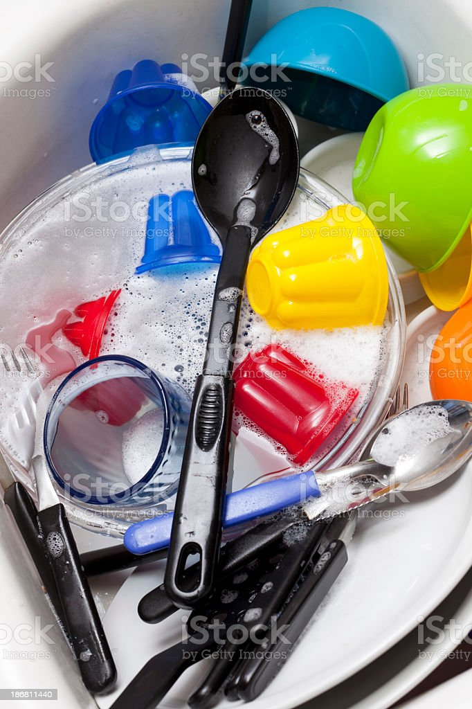 Dishware in sink royalty-free stock photo