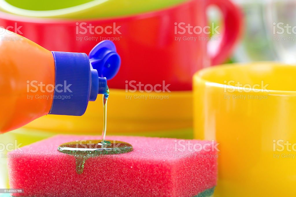 Dishware in the kitchen. Wash and cleaning. stock photo