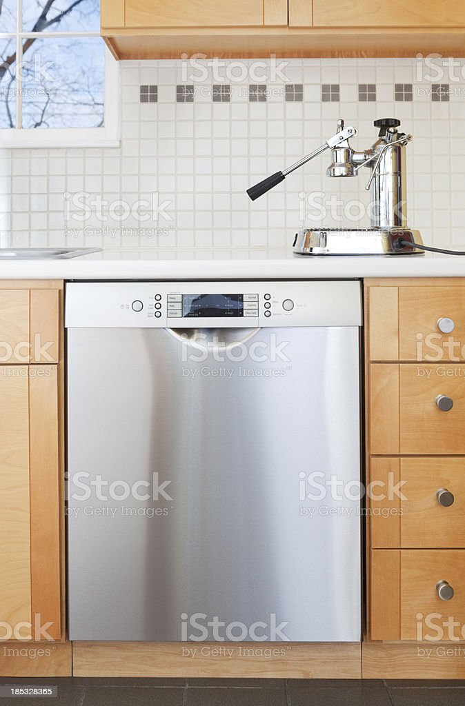 Dishwasher in a Kitchen with Espresso Maker royalty-free stock photo