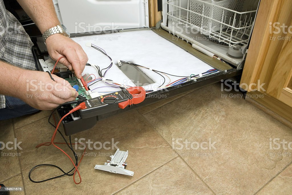 Dishwasher Repair with Multimeter royalty-free stock photo