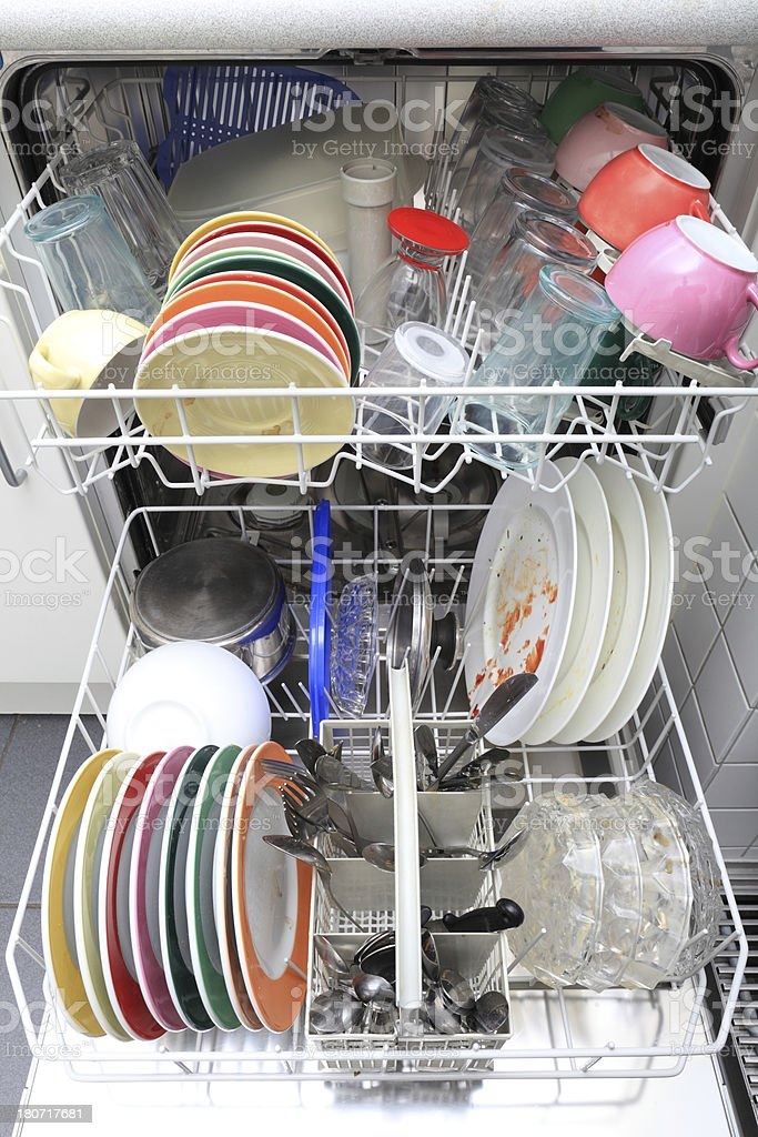 Dishwasher with dirty plates, cups, glasses and cutlery royalty-free stock photo