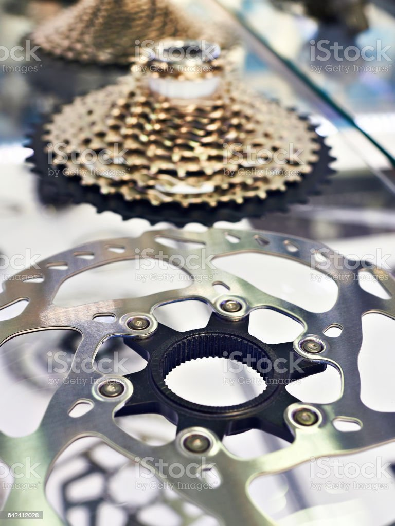 Disk brake and rear cassette stars of speeds in shop stock photo