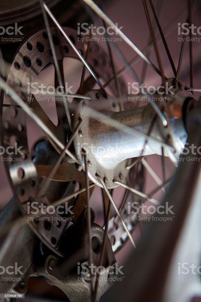 Disk brake of a mountain bicycle stock photo