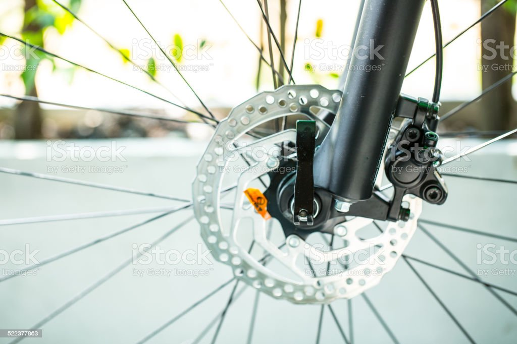 Disk brake Wheel of Bike stock photo