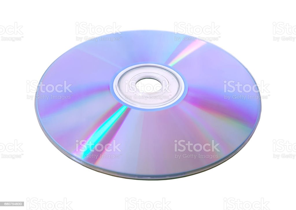 Disk DVD CD on white background. stock photo