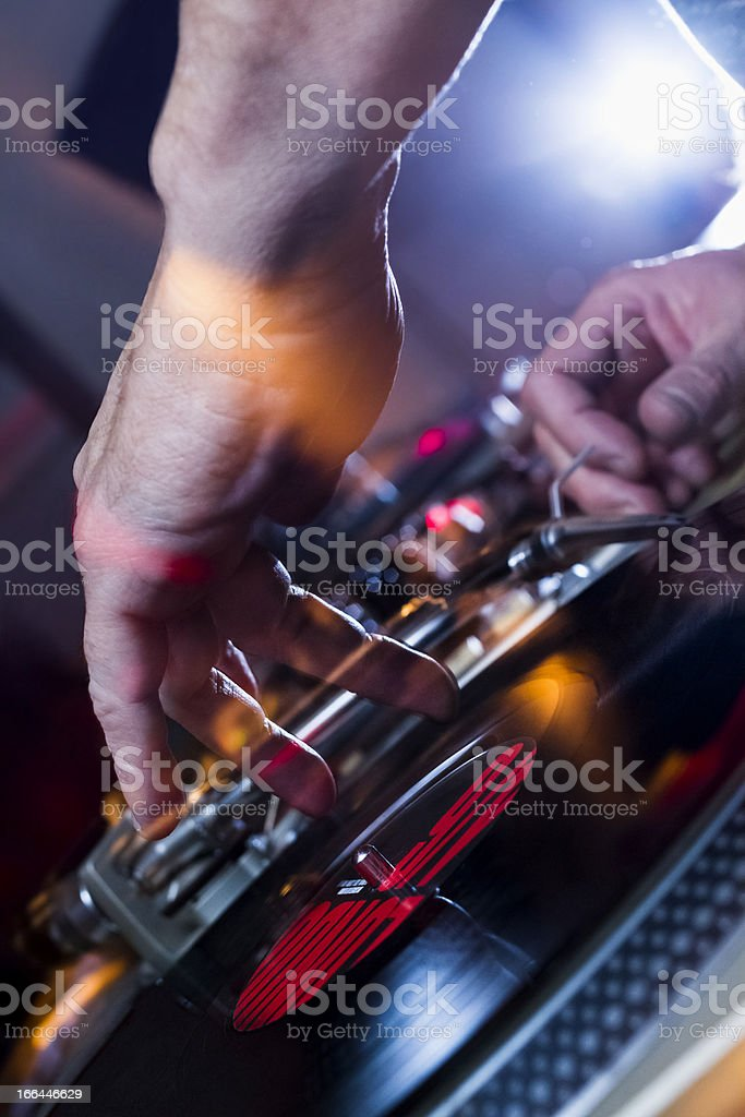 Disk Jockey and turntable stock photo