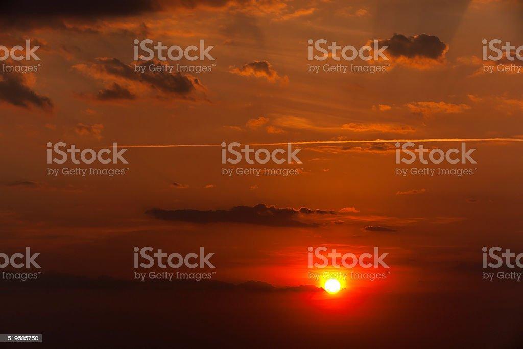 disk of the sun, sunset stock photo