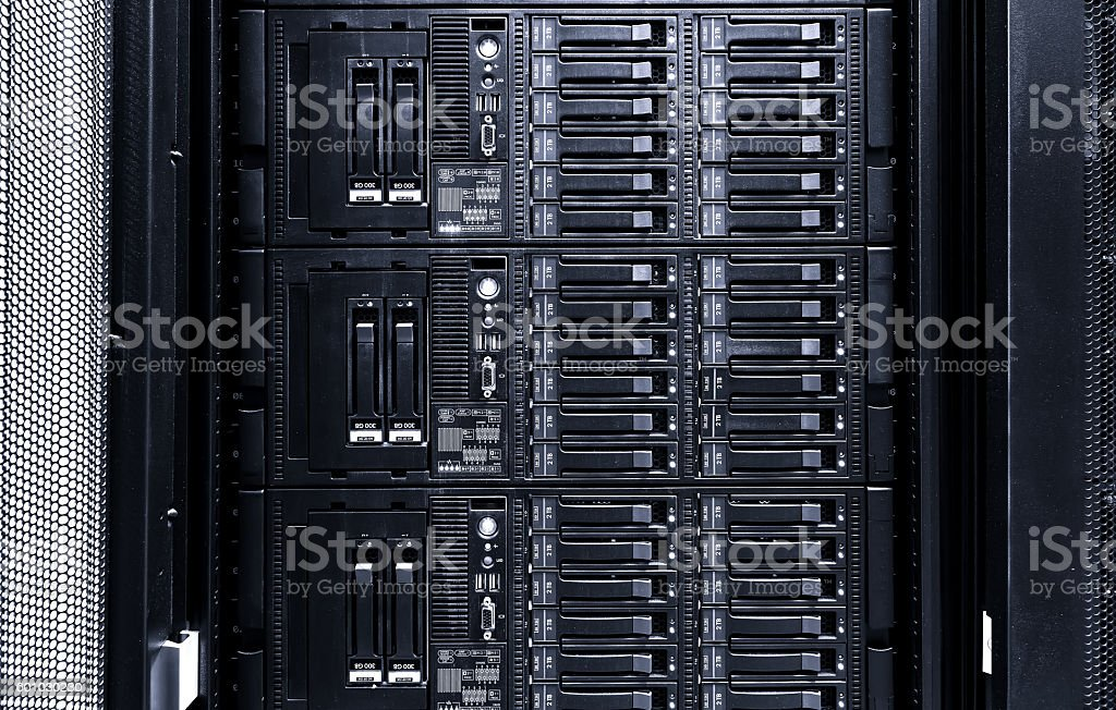 disk storage blades in the mainframe server room stock photo