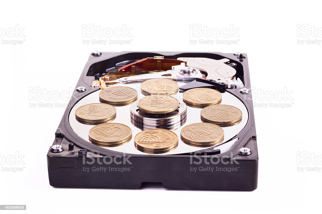 Disk without cower with israeli coins stock photo