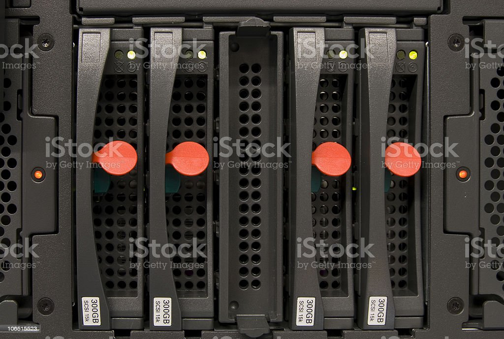 Disks of a high performance server stock photo