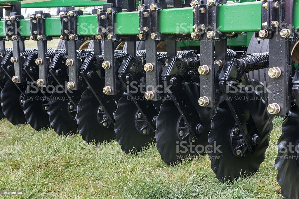 Disks of a seeding drill stock photo