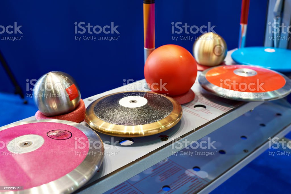Disks, spears and cores stock photo