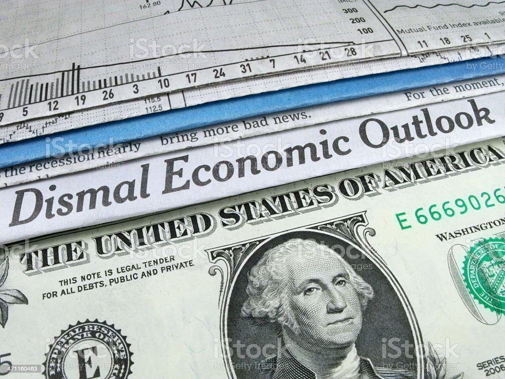 Dismal Economic Headline stock photo
