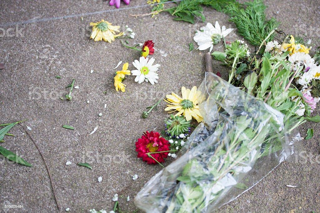 Dismatled flower bouquet stock photo