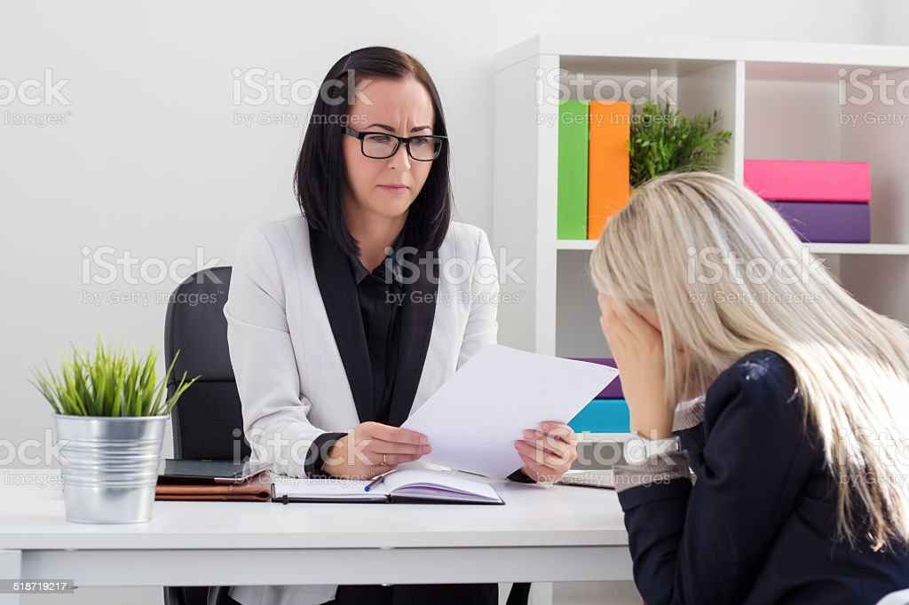 Dismissal or failed job interview stock photo
