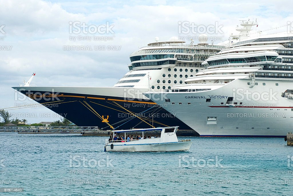 Disney Dream and Carnival Victory stock photo