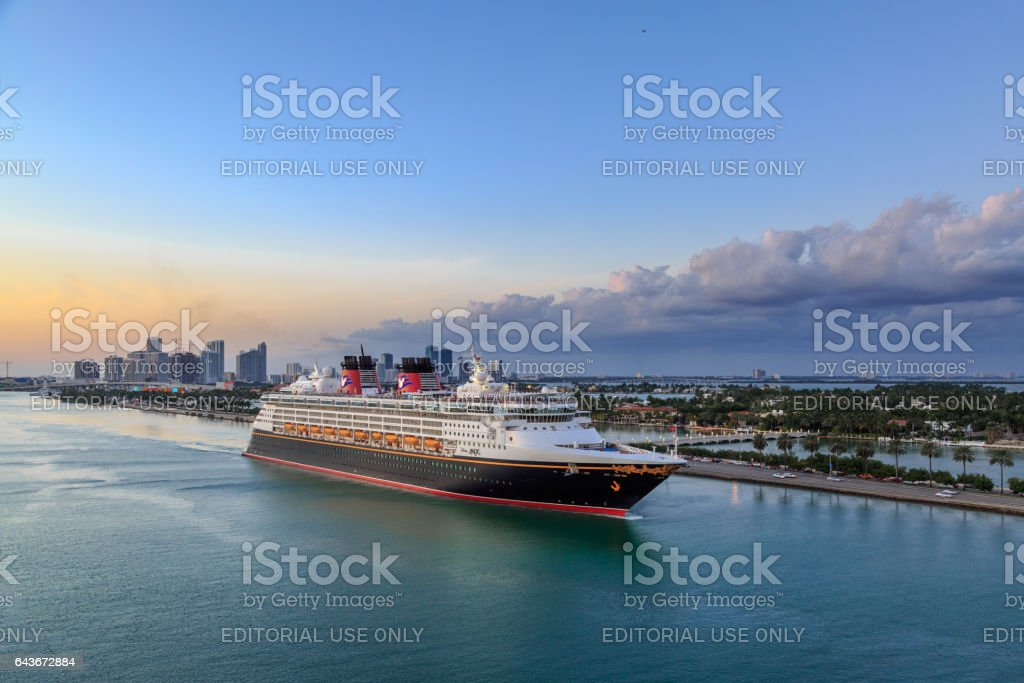 Disney MAGIC Cruise ship sailing from port of miami stock photo