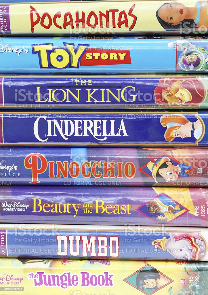 Disney vintage VHS tapes stock photo