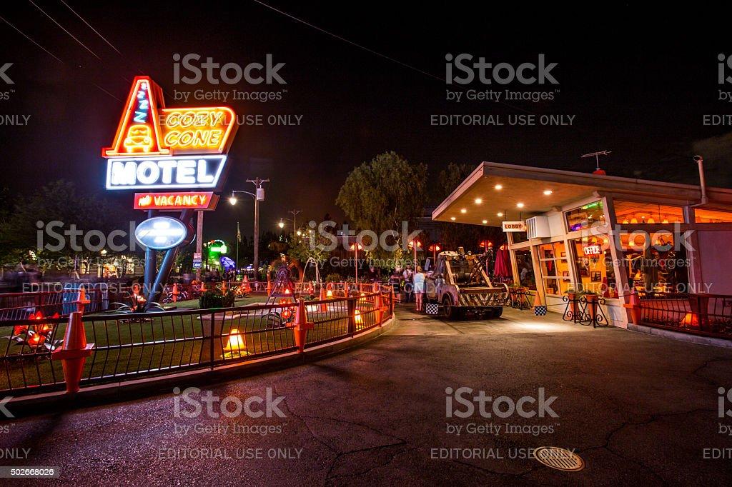 Disneyland 60th aniversary at Cars Land night time stock photo