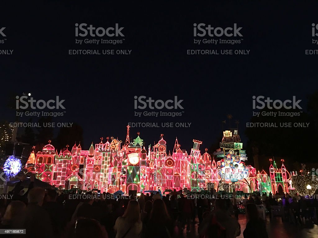 Disneyland attraction, 'it's a Small World' lights up stock photo