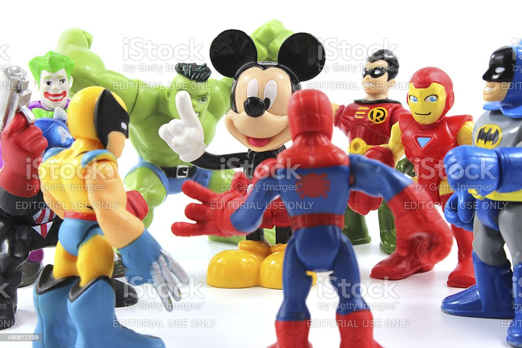 Disney's Mickey Mouse and Marvel's Super heroes stock photo