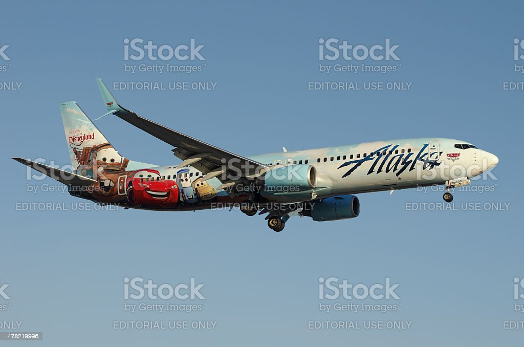 Disney-themed Alaska Airlines Boeing 737 stock photo