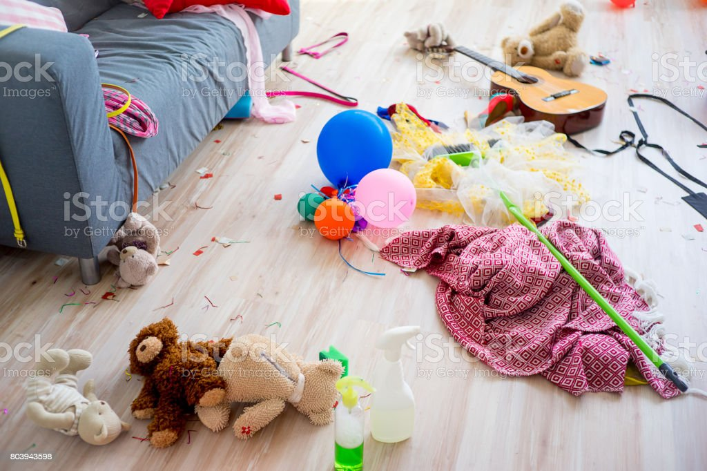 Disorder mess at home created by playing children