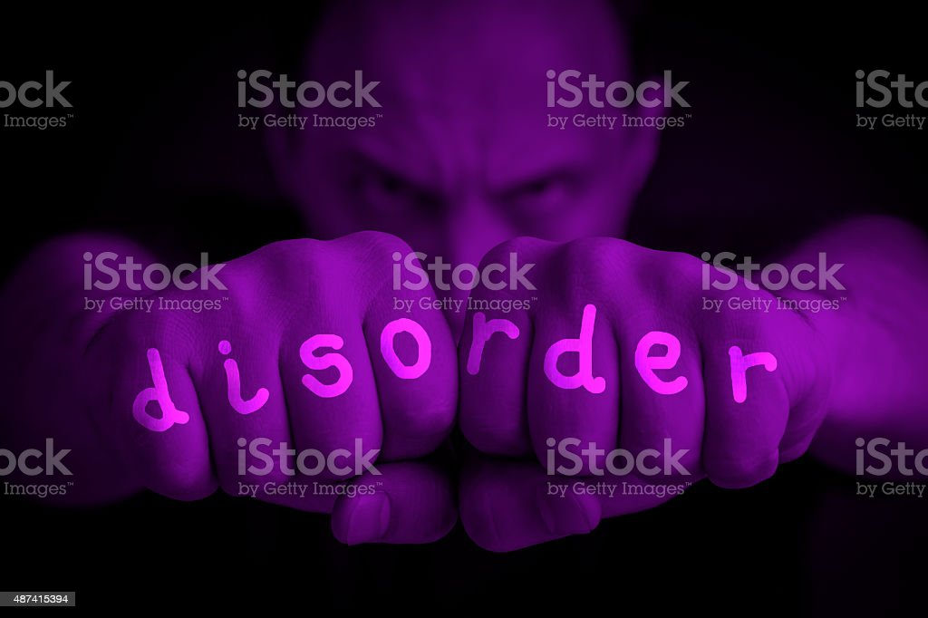 disorder written on an angry man fists royalty-free stock photo