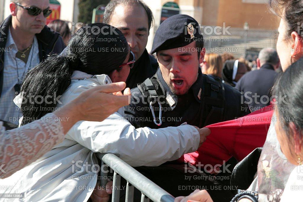 Disorders during the settlement of Pope Francis, St John, Rome stock photo