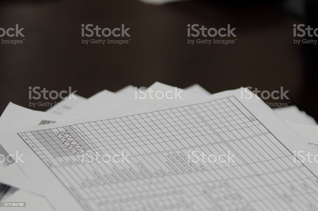 disorganized stack of papers stock photo