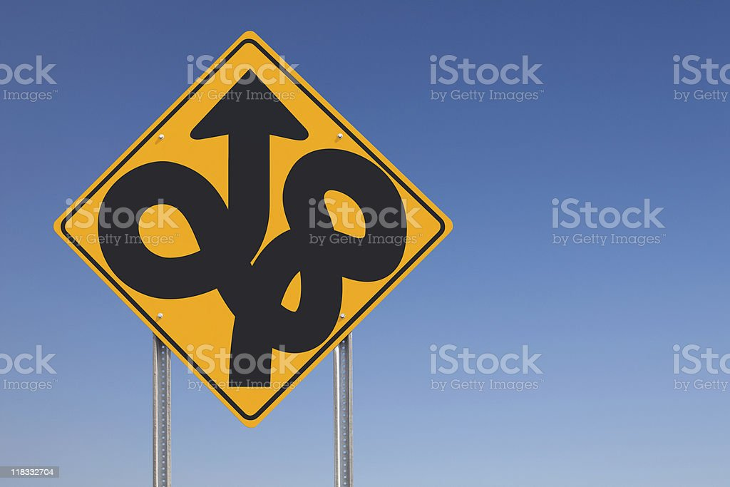 Disorientation Lost Confusion Ahead Traffic Sign Post Over Clear Sky stock photo