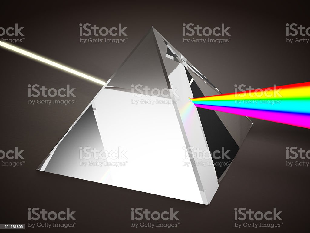 Dispersion of light by prism stock photo