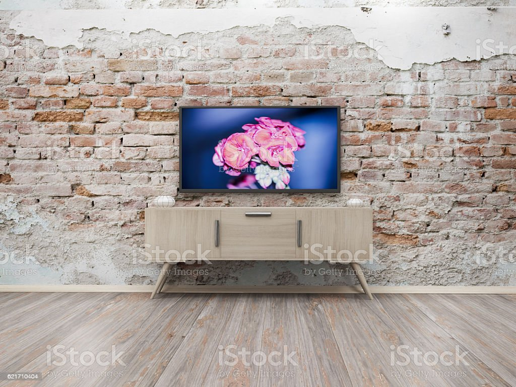 TV display 3D rendering stock photo