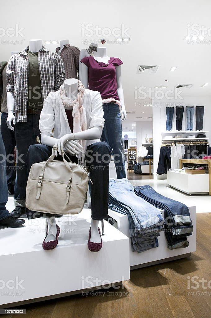 Display in clothing store selling denim jeans royalty-free stock photo