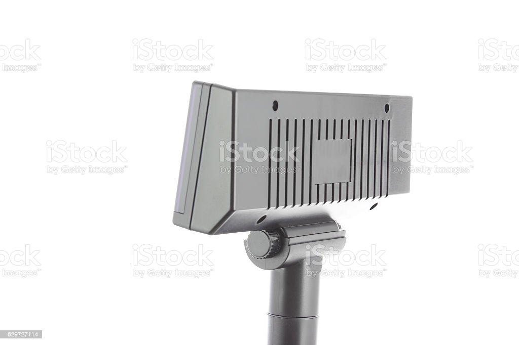 Display of a cash register on white stock photo