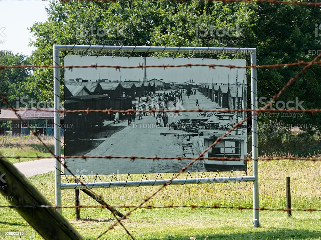 Display of a historic picture at Nazi transit camp Westerbork stock photo