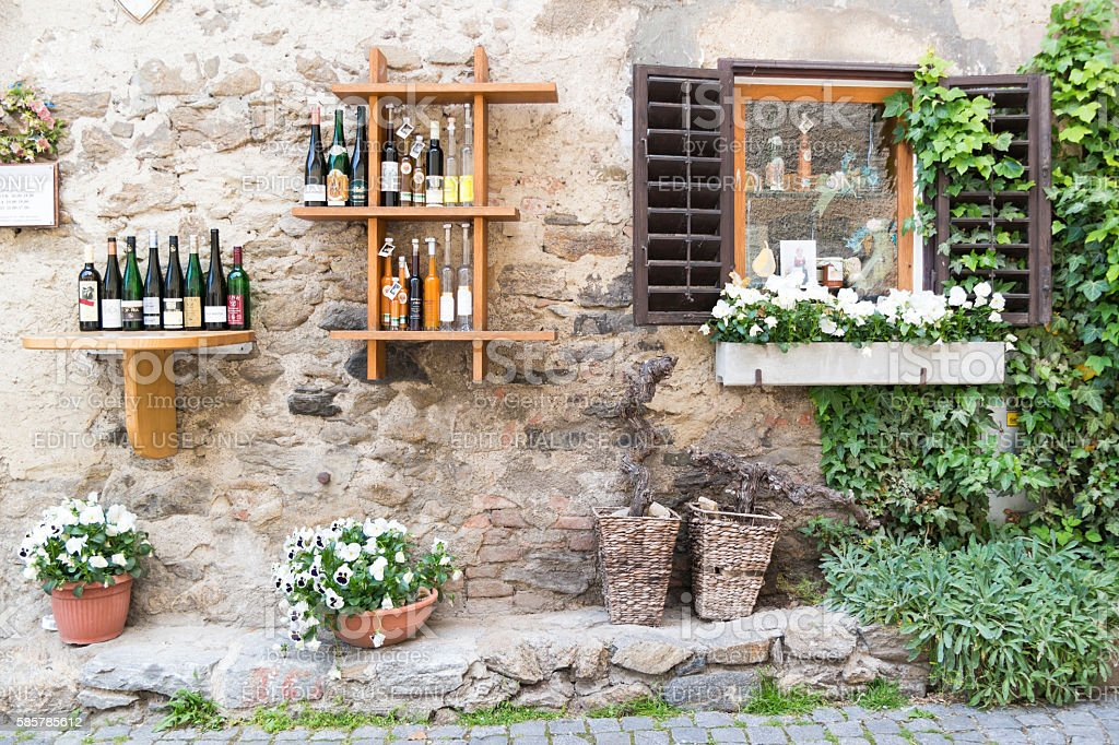 Display of bottles outside liquor store in Durnstein, Austria stock photo